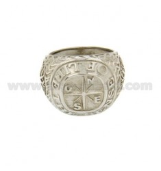 RING MEN WITH WIND ROSE AND TREE OF LIFE IN SILVER RHODIUM TIT 925 ‰ SIZE 20
