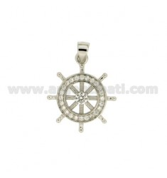 Pendant RUDDER MM 20x17 WITH PAVE &39OF ZIRCONIA SILVER RHODIUM TIT 925 ‰