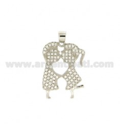 Pendant CHILDREN OF KISSING MM 22x17 WITH PAVE &39OF ZIRCONIA SILVER RHODIUM TIT 925 ‰