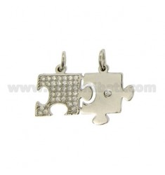 Pendants PUZZLE DIVISIBLE MM 17X26 WITH PAVE &39OF ZIRCONIA SILVER RHODIUM TIT 925 ‰