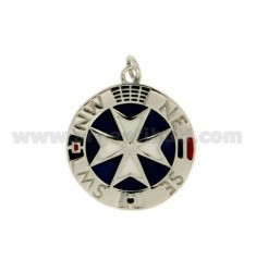 CHARM WITH ROUND CROSS OF MALTA 23 MM SILVER RHODIUM AND GLAZED TIT 925 ‰