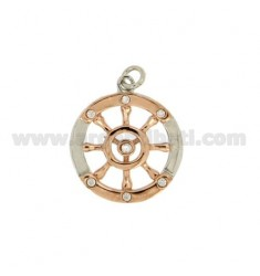 Pendant RUDDER ROUND 19 MM SILVER RHODIUM AND COPPER TIT 925 ‰ WITH ZIRCONIA