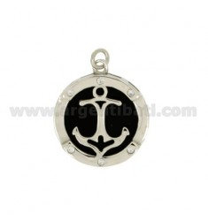 PENDANT 19 MM ROUND WITH STILL IN SILVER RHODIUM TIT 925 ‰ WITH ZIRCONIA AND ONYX