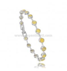 Tennis Armband TYPE CIPOLLINO 5 MM 18 cm Silber Rhodium TIT 925 ‰ und Zirkonia gelb geknackt