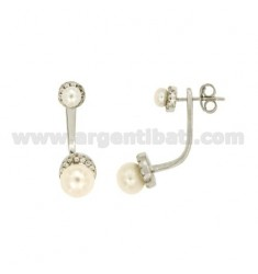 EAR CUFF EARRINGS WITH PEARLS AND WITH ZIRCONIA PAVE IN SILVER RHODIUM-PLATED TIT 925 ‰