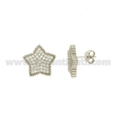 LOBO STAR OHRRINGE MM 14X14 MIT ZIRCONIA PAVE IN SILBER RHODIUM-PLATED TIT 925 ‰