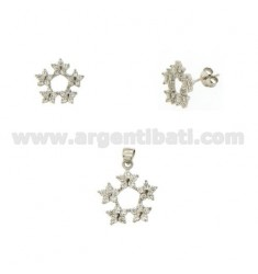 SET OF EARRINGS AND PENDANT GARLAND WITH ZIRCONIA PAVE IN RHODIUM-PLATED SILVER TIT 925 ‰