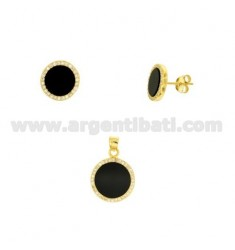SET OF EARRINGS AND ROUND PENDANT WITH ONYX AND PAVA 'OF ZIRCONIA IN SILVER GOLDEN TIT 925 ‰