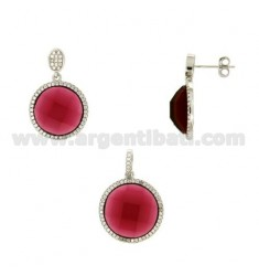 SET OF EARRINGS AND ROUND PENDANT WITH RED ZIRCON AND PAVE 'OF ZIRCONIA IN RHODIUM-PLATED SILVER TIT 925 ‰