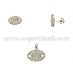 SET OF EARRINGS AND OVAL FACE PENDANT WITH ZIRCONIA PAVE IN RHODIUM-PLATED SILVER TIT 925 ‰