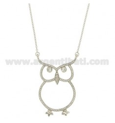 CABLE CHAIN CM 45 WITH CENTRAL OWL WITH PAVE 'OF ZIRCONIA SILVER RHODIUM TIT 925 ‰