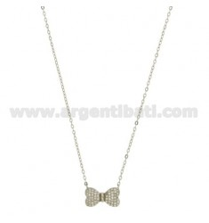 CABLE CHAIN CM 45 WITH CENTRAL PAPILLON WITH ZIRCONIA PAVE IN RHODIUM-PLATED SILVER TIT 925 ‰