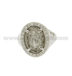 RING MIRACULOUS MADONNA WITH BOARD OF ZIRCONIA SILVER RHODIUM TIT 925 ‰ ADJUSTABLE MEASURE 14