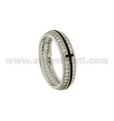 BAND RING 5 MM MIT CROSS CENTRAL und glasierten PAVE &39von Zirkonoxid Silber Rhodium TIT 925 ‰ GRÖSSE 16