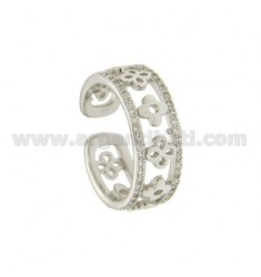 BAND RING 8 MM WITH FLOWERS IN SILVER RHODIUM TIT 925 ‰ ADJUSTABLE SIZE AND ZIRCONIA