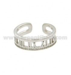 MM BAND RING WITH 7 NUMBERS ROMAN SILVER RHODIUM TIT 925 ‰ ADJUSTABLE SIZE AND ZIRCONIA
