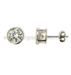OHRLichtPunkt Schnittlauch mit weiße Zircon 6 MM Silber Rhodium 925 ‰