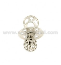 Pendant pacifier TRAFORATO WITH ANGELS MM 24x21 WITH RATTLE SILVER RHODIUM TIT 925