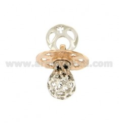 Pendant pacifier TRAFORATO WITH ANGELS MM 24x21 WITH RATTLE SILVER RHODIUM AND COPPER TIT 925