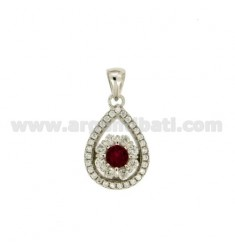 PENDANT DROP 17X12 MM WITH ZIRCONIA PAVEMENT IN RHODIUM-PLATED SILVER TIT 925