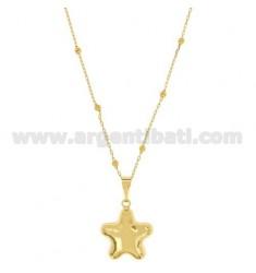 Colgante ÁNGELES DE LLAMADAS forma de estrella con CADENA 80 CM bronce dorado