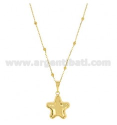 Pendant CALLING ANGELS STAR SHAPED WITH CHAIN 80 CM BRONZE GOLDEN