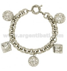 BRACELET RHODIUM PLATED BRONZE WITH PENDING CONTAINING ZIRCONS