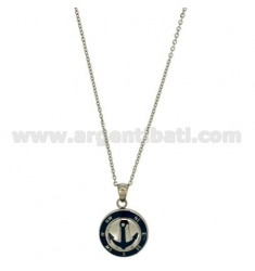 CHAIN CABLE CM 45.50 STILL WITH PENDANT 18 MM STEEL INSERTS AND ENAMELLED BLUE ZIRCON