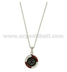 CHAIN CABLE CM 45.50 COMPASS PENDANT STEEL INSERTS ENAMELLED