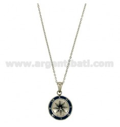 CHAIN CABLE CM 45.50 PENDANT ROSE OF THE WINDS 18 MM STEEL INSERTS AND ENAMELLED BLUE ZIRCON