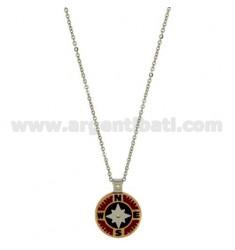 CHAIN CABLE CM 45.50 PENDANT ROSE OF THE WINDS 18 MM STEEL TWO TONE WITH INSERTS AND ENAMELLED ZIRCONE