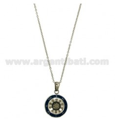 CHAIN CABLE CM 45.50 PENDANT RUDDER 18 MM STEEL INSERTS AND ENAMELLED BLUE ZIRCON