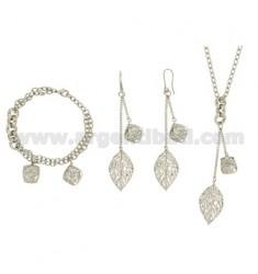 PARURE mit Ohrringen Halskette und Armband rhodiniert Bronze mit PENDING ENTHALTEN Zirkone