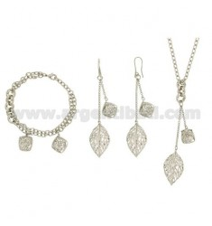 PARURE WITH EARRINGS NECKLACE AND BRACELET RHODIUM PLATED BRONZE WITH PENDING CONTAINING ZIRCONS