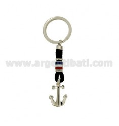 KEY RING WITH FLAGS AND STILL WATER STEEL GLAZED WITH DOT BRASS AND BLACK ROPE