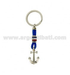 KEY RING WITH FLAGS AND STILL WATER STEEL GLAZED WITH DOT BRASS AND BLUE ROPE