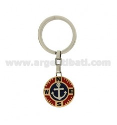 KEY RING AGAIN IN STEEL WITH TWO TONE INSERTS AND ENAMELLED ZIRCONE