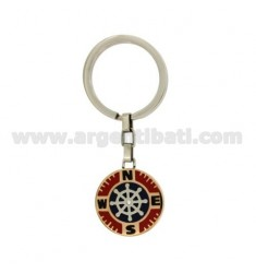 KEY RING HELM STEEL TWO TONE WITH INSERTS AND ENAMELLED ZIRCONE