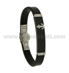 RUBBER BRACELET 10 MM WITH BICOLOR STEEL PLATE WITH ANCHOR AND ZIRCON