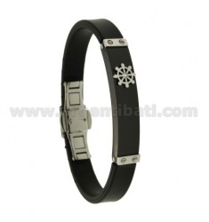 RUBBER BRACELET 10 MM WITH BICOLOR STEEL PLATE WITH RUDDER AND ZIRCON