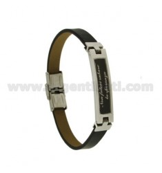 BRACELET IN LEATHER WITH 8 MM PLATE CENTRAL STEEL TWO TONE DO NOT BE STEALING HOPE