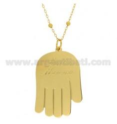 COLLAR DE CABLE CON LA BOLA ALTERNOS 3,5 MM 90 CM CON Manina a tu madre en bronce dorado