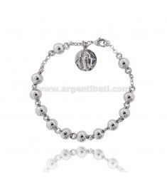 BRACELET ROSARY WITH BALL 8 MM BRONZE RHODIUM WITH MIRACULOUS MADONNA PENDANT