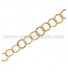 CHAIN METRO GIOTTO DIAMETER 10 MM WIRE BEATEN IN SILVER AND HAMMERED COPPER TIT 925 ‰ CM 50