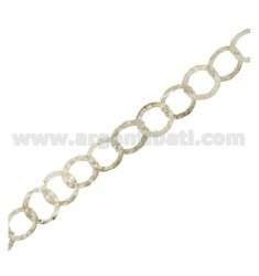 CHAIN METRO GIOTTO DIAMETER 10 MM WIRE BEATEN IN SILVER HAMMERED AND RHODIUM TIT 925 ‰ CM 50