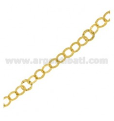 METRO GIOTTO CHAIN DIAMETER 8 MM WIRE BEATEN IN SILVER AND GOLD HAMMERED TIT 925 ‰ CM 50