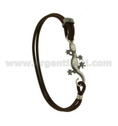 Bangle Bracelet BROWN LEATHER WITH JECO IN AG TIT BRUNITO 925 ‰