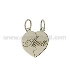 PENDANT HEART DIVIDED LOVE MM 20x18 SILVER RHODIUM 925 ‰