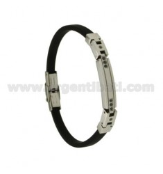 BLACK RUBBER BRACELET WITH STEEL PLATE AND BLACK ZIRCONIA