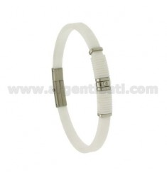 BRACELET IN STEEL AND WHITE RUBBER 5 MM WITH ZIRCON
